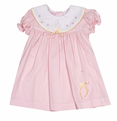 Will'Beth Baby Girls Sweet Pink First Birthday Dress with Embroidered Balloons & Cake Bloomers - White Collar