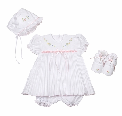 Will'Beth Baby Girls Sweet White Pleated Dress with Embroidery - Matching Bonnet & Booties