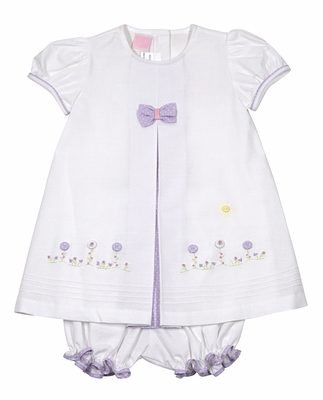 Will'Beth Baby Girls White Dress with Bloomers - Purple Bow and Button Flowers