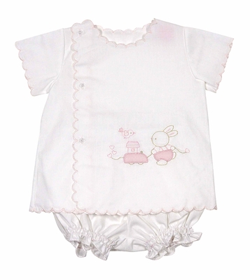 Will'Beth Baby Girls White Scallop Diaper Set - Pink Embroidery Easter Bunny