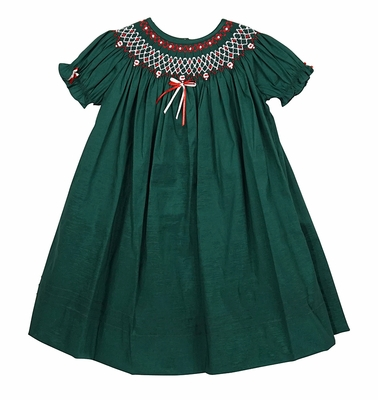 willbeth baby toddler girls christmas bishop dress green smocked in red - Green Christmas Dress
