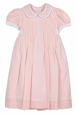 Will'Beth Baby / Toddler Girls Peachy Pink Linen Dress with Embroidered Collar