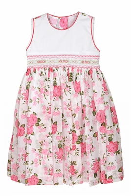 Will'Beth Baby / Toddler Girls Pink Floral Smocked Sleeveless Dress - Bow in Back