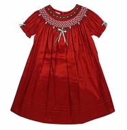 Will'Beth Baby / Toddler Girls Red Smocked Bishop Dress