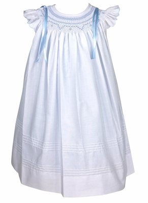 Will'Beth Baby / Toddler Girls White Smocked Angel Sleeve Dress with Blue Bows - White over Blue