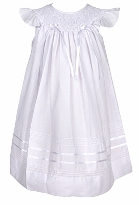 Will'Beth Baby / Toddler Girls White Smocked Angel Sleeve Dress with Bows - White on White