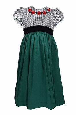 Will'Beth Girls Christmas Dress with Black Houndstooth Bodice and Red Roses - Green