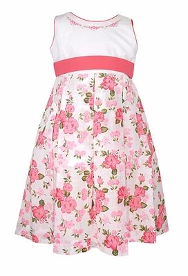 Will'Beth Girls Pink / Green Floral Sleeveless Dress with Embroidery and Sash