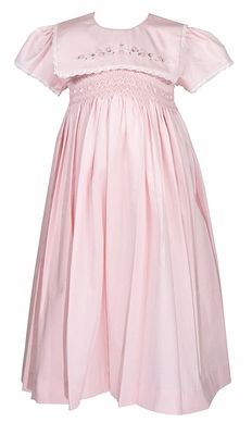 Will'Beth Girls Pink Smocked Dress with Sash - Embroidered Square Collar