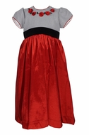 Will'Beth Girls Red Christmas Dress with Black Houndstooth Bodice and Roses - Red