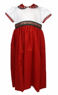 Will'Beth Girls Red Christmas Dress with Embroidered Collar - Ivory Bodice - Green Sash