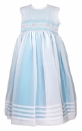 Will'Beth Girls Sleeveless Aqua Dress - Smocked Bodice - Organza Overlay and Sash in Back