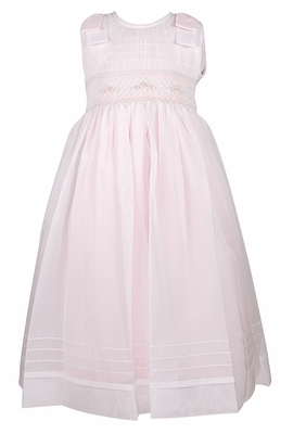 Will'Beth Girls Sleeveless Pink Smocked Bodice Dress - Overlay - Bows on Shoulders