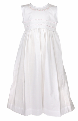 Will'Beth Girls Sleeveless White Dress - Lace / Ribbon Trim - Pink Embroidery