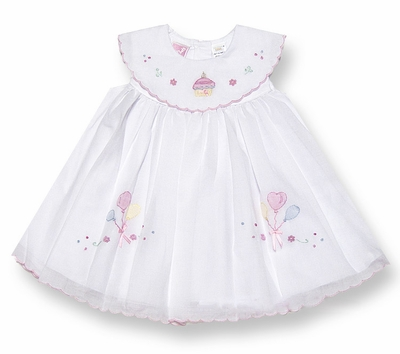Will'Beth Infant Baby Girls Sweet 1st Birthday Dress with Platter Collar and Shadow Stitch Cupcake Embroidery - White