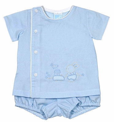 Will'Beth Infant Boys Blue Shadow Stitch Embroidery Easter Bunny Diaper Set