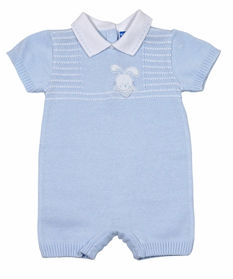 Will'Beth Infant Boys Blue Sweater Knit Romper - Easter Bunny