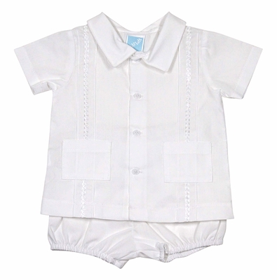 Will'Beth Infant Boys Dressy White Diaper Set - Pockets & Trim