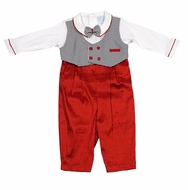 Will'Beth Infant Boys Vested Christmas Outfit - Black Check with Red