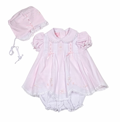 Will'Beth Infant Girls Pink Dress with Bonnet and Bloomers - Pintucks / Embroidery / Lace Trim