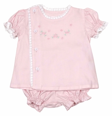 Will'Beth Infant Girls Sweet Pink Embroidered Diaper Set - Lace Trim