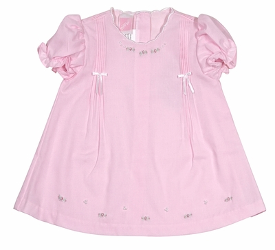 Will'Beth Infant Girls Sweet Pink Pleated Dress with Delicate Embroidery