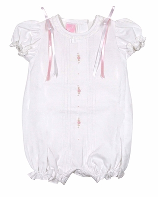 Will'Beth Infant Girls Sweet White Bubble with Pink Ribbons and Embroidery