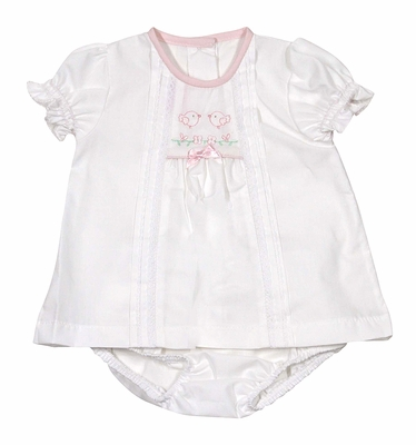 Will'Beth Infant Girls Sweet White Bloomers Set - Lace Trim - Pink Embroidery Baby Birds