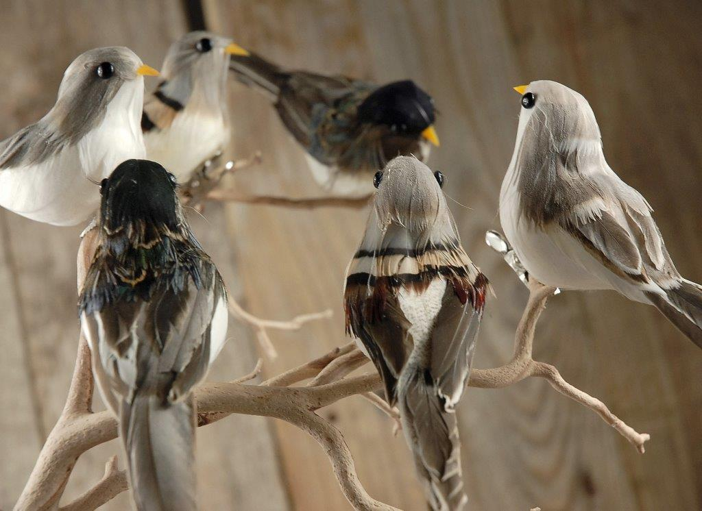 Bird figurines pack of 6 for Artificial birds for decoration