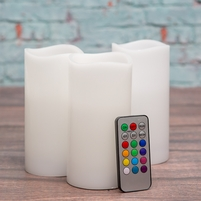 Set of 3 RGB LED Pillar Candles, Remote Control, 12 Colors, 3x6, Three Modes