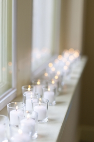 36 Clear Glass Votive Holders and Candles - Click to enlarge