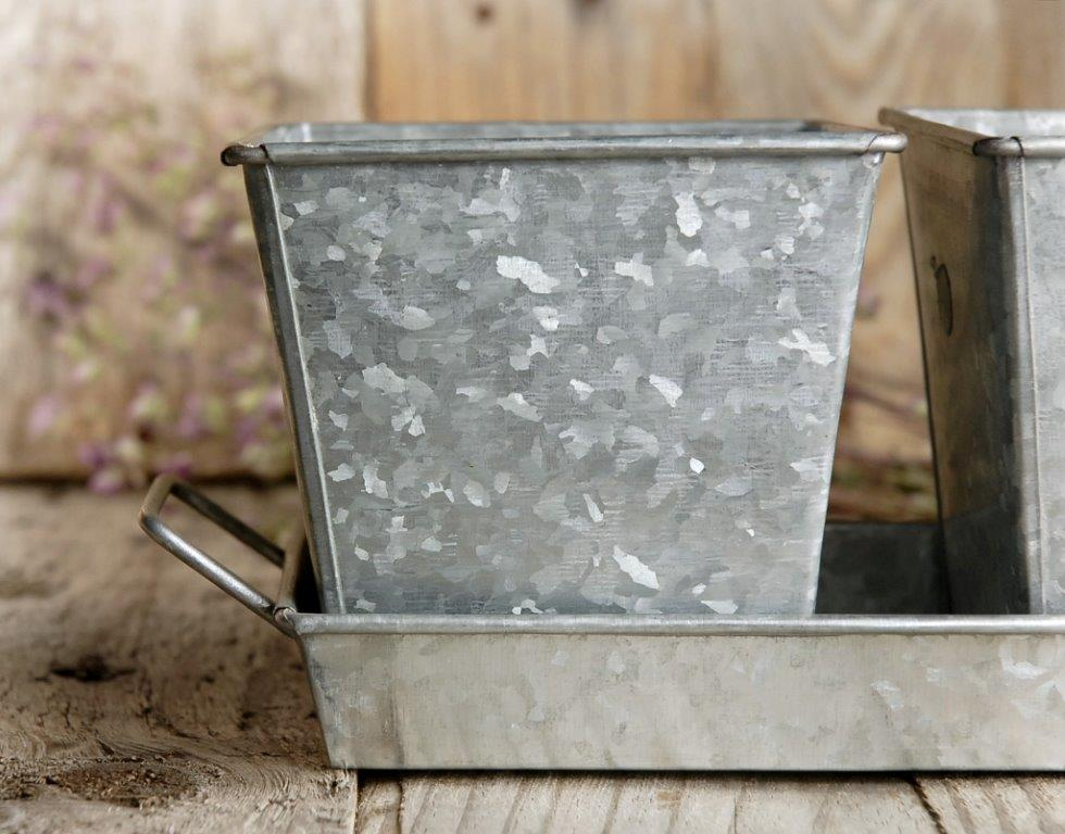 Galvanized 3 Herb Pots Amp Tray 14in
