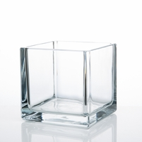 """12 Clear Glass 5"""" Square Vases"""