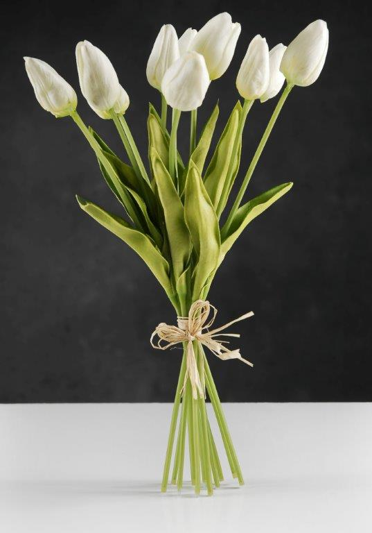 Natural Touch Mini White Tulip Bouquet 14in