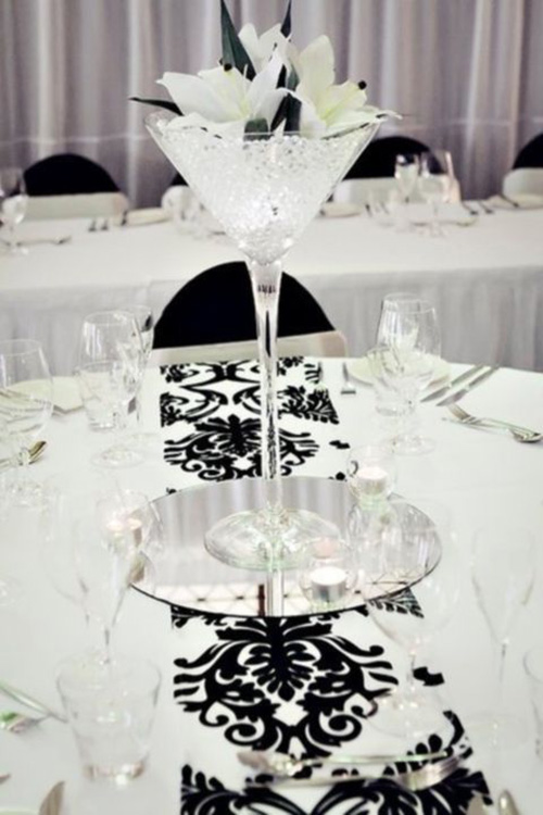 Top 9 black and white wedding ideas for Black and white reception tables
