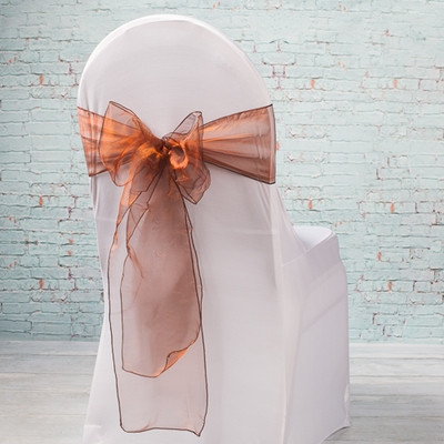 "Brown Organza Chair Sashes 7"" Wide  Pack of 10"