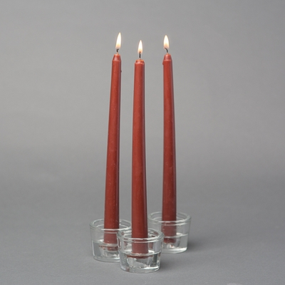 "10 Brown 10"" Taper Candles, Handcrafted Cotton Wicks"