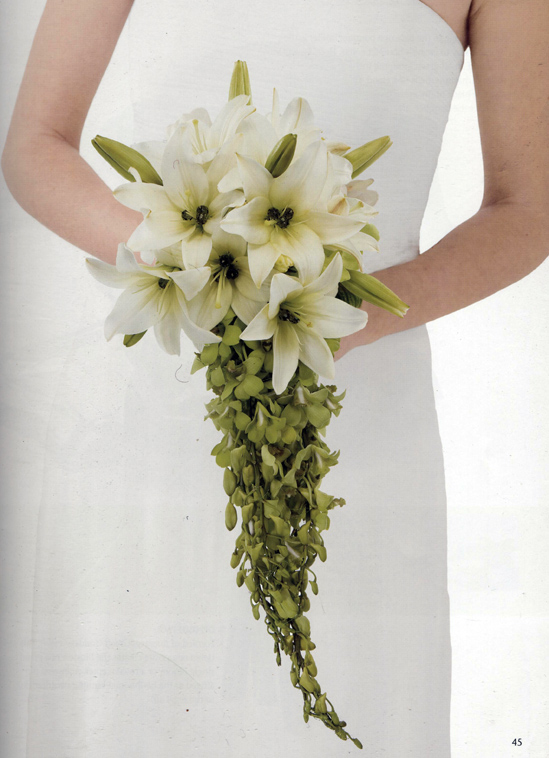 DIY  Cascading  Lily & Orchid Wedding Bouquet  from Florist Review Wedding Bouquets