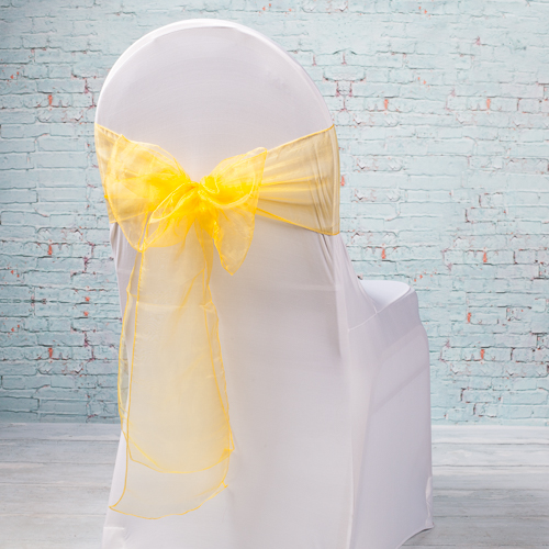 """Gold Organza Chair Sashes 7"""" Wide  Pack of 10"""