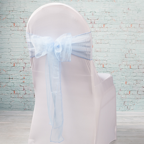 """Light Blue Organza Chair Sashes 7"""" Wide  (Pack of 10)"""