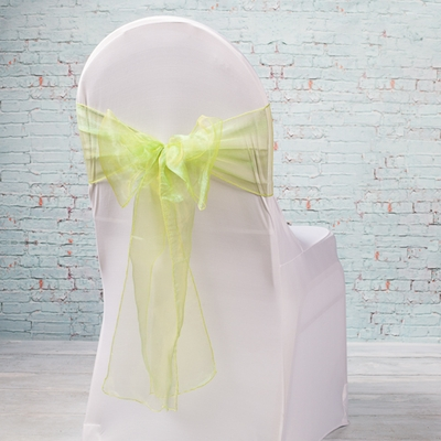 "10 Light Green Organza Chair Sashes 7"" Wide"