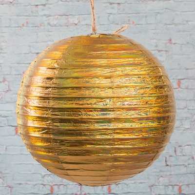 "Paper Lanterns 12"" GOLD Metallic Pack of 10"