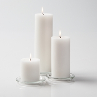 "Pillar Candles 3"" White Set of 3"