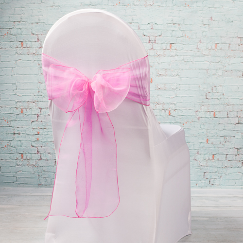 """Pink Organza Chair Sashes 7"""" Wide  (Pack of 10)"""