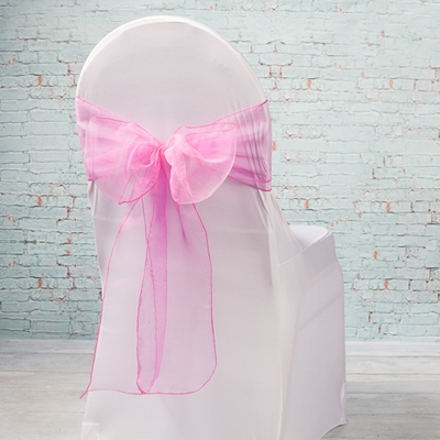 "Pink Organza Chair Sashes 7"" Wide  (Pack of 10)"