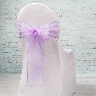 10 Sheer Purple Organza Chair Sashes