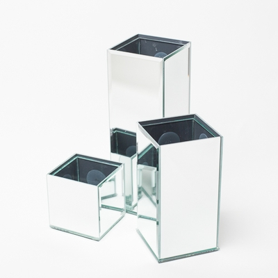 Richland Mirrored Square Vase (3 Sizes) Set of 3