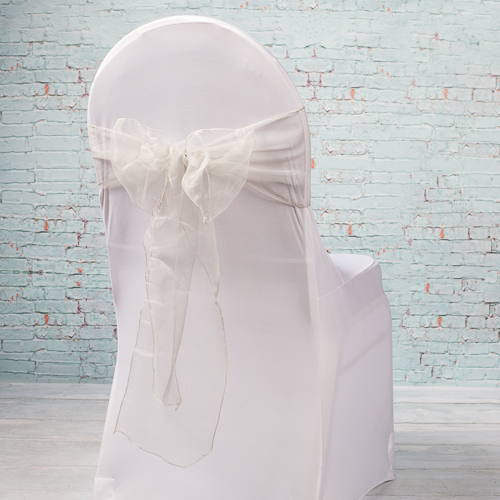 "Silver Organza Chair Sashes 7"" Wide  Silver Pack of 10"