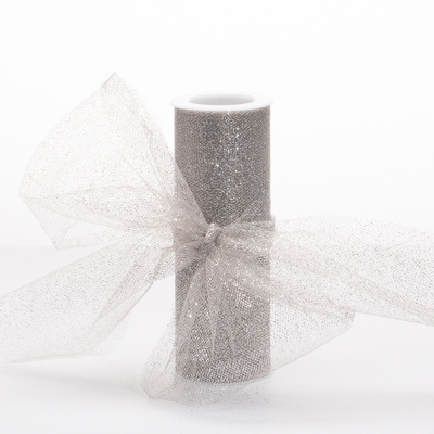 "6"" Silver Tulle Netting  10yds"