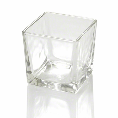 36 Square Thick Glass Candle Holders 3in